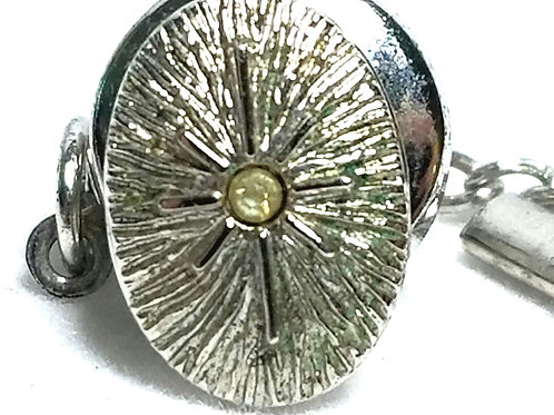 Designer by Provenance, tie tack with chain, oval center stone, silver starburst