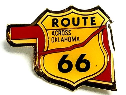 Designer by provenance, lapel pin, Route 66 motif, multi color, gold tone.