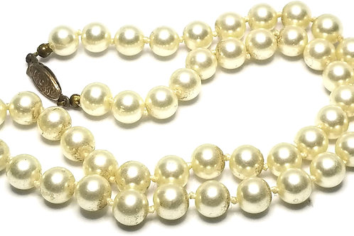 Designer by Romal, necklace, white faux pearls, gold tone, 18 inches.