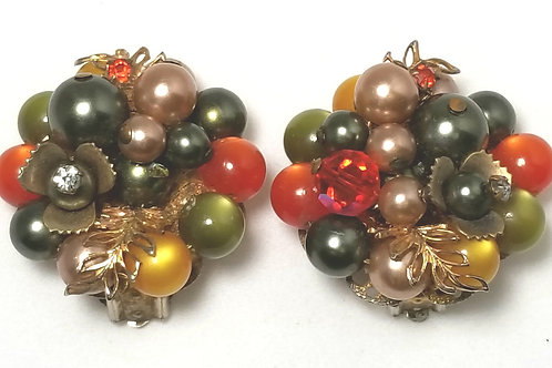 Designer by provenance, earrings, multi-colored fall colors, clip ons