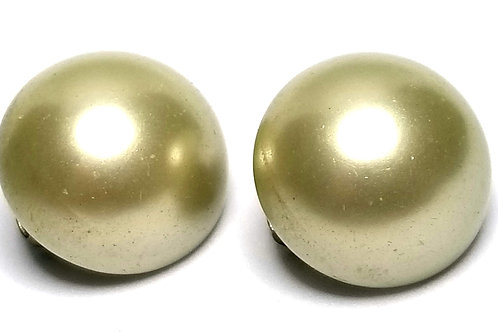 Designer by Japan, earrings, clip on, cream faux pearl cabochons.