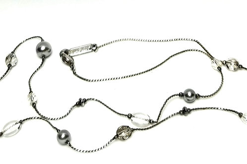 Designer by Napier, necklace, white faux pearl with clear beads in silver tone.