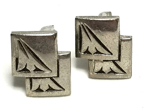Designer by Provenance, cuff links, silver tone pot metal, 1/2 inch x 1/2 inch.