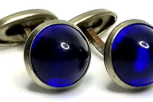 Designer by provenance, cuff links, blue glass cabochons, silver tone, 5/8 inch.