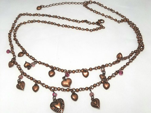 Neck wear, necklace, copper color double strand hearts 20 inch necklace