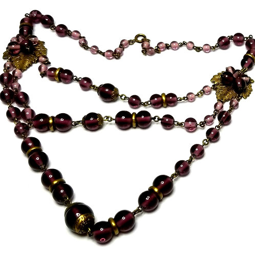 Designer by provenance, necklace, leaf motif, purple beads, gold tone, 16-19 in