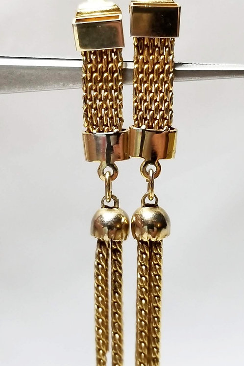 Designer by Judy Lee, earrings, gold tone beads and chains dangles