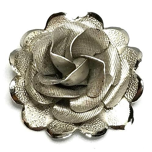 Designer by A.C., brooch, rose motif, Sterling silver, 7/8 inch.