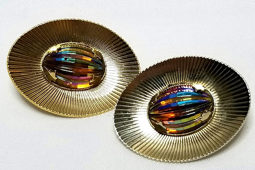 Designer by SAC, earrings, clip on, oval multi color cabochons