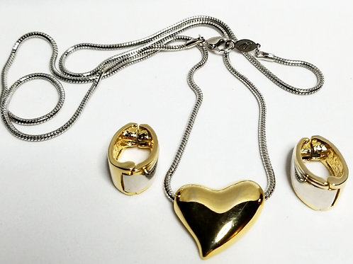 Designer by LCI, set, necklace and clip on earrings, heart motif