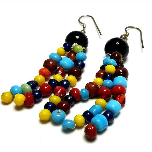 Designer by provenance, earrings, pierced dangles, multi color beads.