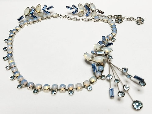 Designer by Marvella, set, necklace and earrings, blue rhinestones, opalescent