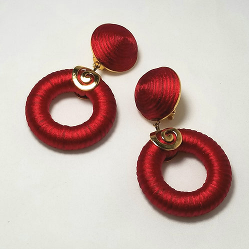 Designer Pocci Paris, red and gold tone clip on earrings
