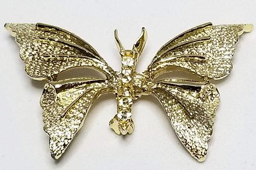 Designer by Lisner, brooch, butterfly motif, gold tone pot metal.