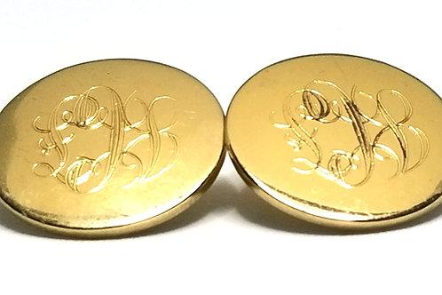 Designer by Monet, earrings, clip on, monogram motif, gold tone, 7/8 inch.