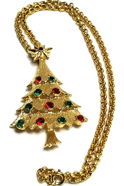 Designer by provenance, necklace, Christmas tree motif, multi color stones.
