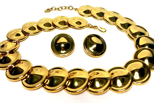 Designer by Monet, set, pendant necklace and earrings, gold tone round cabochons