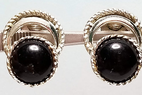Designer by SAC, earrings, clip on, black cabochons in silver tone pot metal.