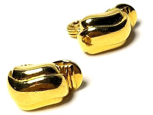 Designer by Monet, earrings, clip on, gold tone, 3/8 inch.