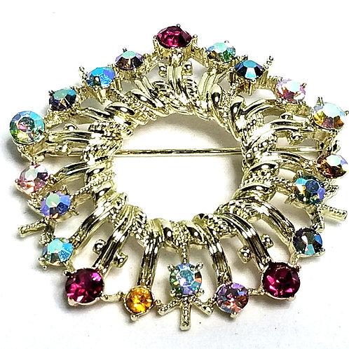Designer by Coro, brooch, wreath motif, multicolored rhinestones, gold tone.