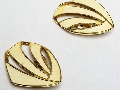 Designer by Monet, earrings, cream and gold tone enamel clip on earrings.