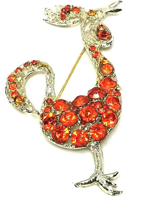 Designer by Provenance, brooch, bird motif, orange glass stones in gold tone.