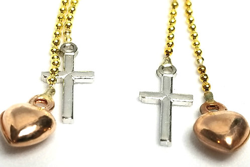 Designer by provenance, earrings, pierced dangles, crosses and hearts motif, 14K
