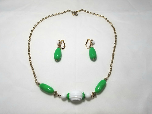 """Set, Avon green and white beaded 20"""" necklace and earrings."""