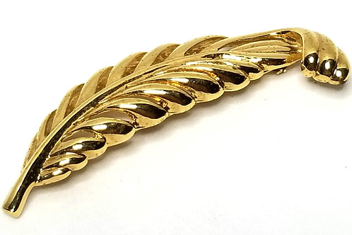Designer by Napier, brooch, feather motif, gold tone, 1 x 3 inches.