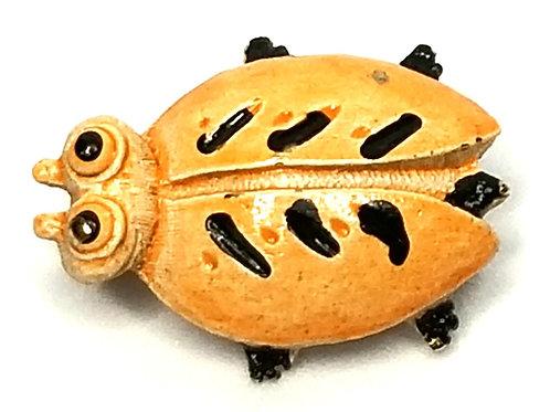 Designer by provenance, brooch, bug motif, orange and black gold tone, 7/8 x 5/8