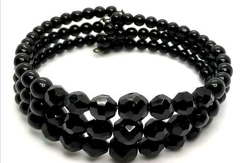 Designer by provenance, bracelet, memory wire, black faceted beads, 6 inches.