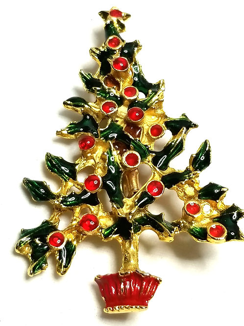 Designer by provenance, brooch, Christmas tree motif, multi color, gold tone.