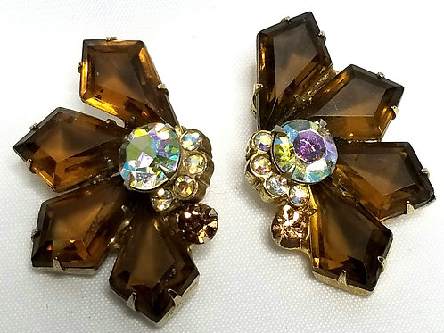 Designer by Juliana, earrings, clip on, brown glass and rhinestones, gold tone.