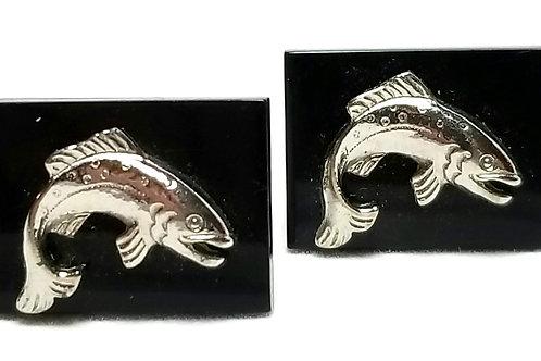 Designer by Swank, cuff links, trout motif, black enamel in silver tone.
