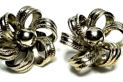 Designer by Kramer, earrings, clip on, flower motif, silver tone, 1 inch.