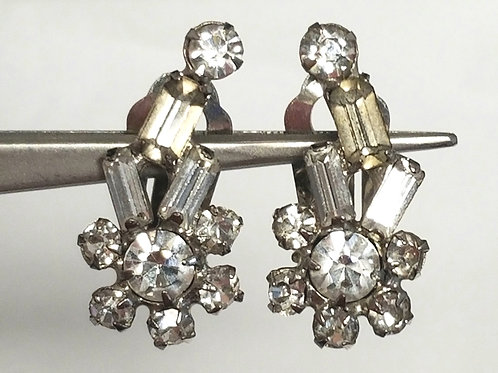Earrings, rhinestone earrings, designer by provenance, silver tone, 1 1/8 inches