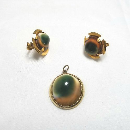 Designer by provenance earrings and pendant, green cats eye in gold tone metal.