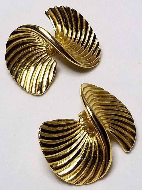 Designer by Trifari, earrings, clip on gold tone twisted swirls motif.