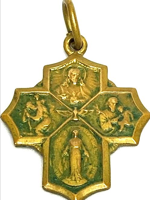 Designer by provenance, pendant/charm, religious Catholic motif, gold tone.