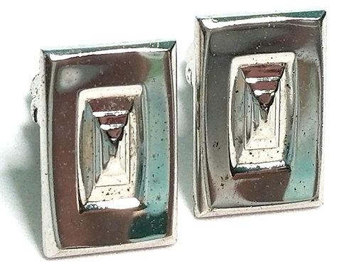 Designer by Hickok USA, cuff links, rectangular, silver tone, 1/2 x 3/4 inch.