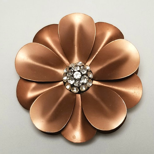 Designer by provenance, brooch, brown flower with crystals, 2 3/4 inch