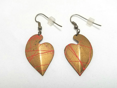 Designer by provenance earrings, gold tone with hot pink line accents