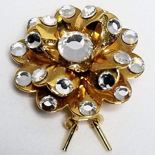 Designer by Joomi Joolz, barrette, rhinestone flower motif in gold tone