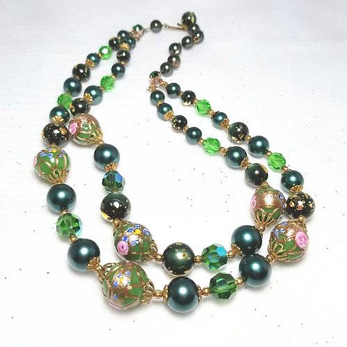 Designer by provenance, neck wear, necklace, green enameled beads