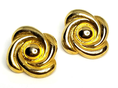 Designer by provenance, earrings, pierced posts, flower motif, gold tone.