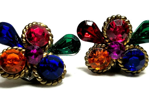 Designer by provenance, earrings, pierced posts, butterfly motif, multi colored.