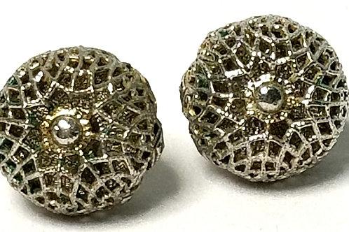 Designer by Monet, earrings, pierced posts, silver tone 1/2 inch.