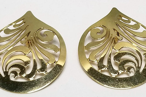 Designer by Stamos, earrings, gold tone patterned cut out.
