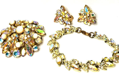 Designer by Alice Calvines, set, brooch, bracelet, earrings, clip on, rhinestone