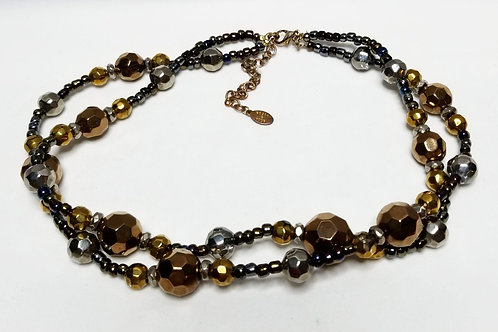 Designer by Robert Rose, neck wear, double strand multi colored beads.